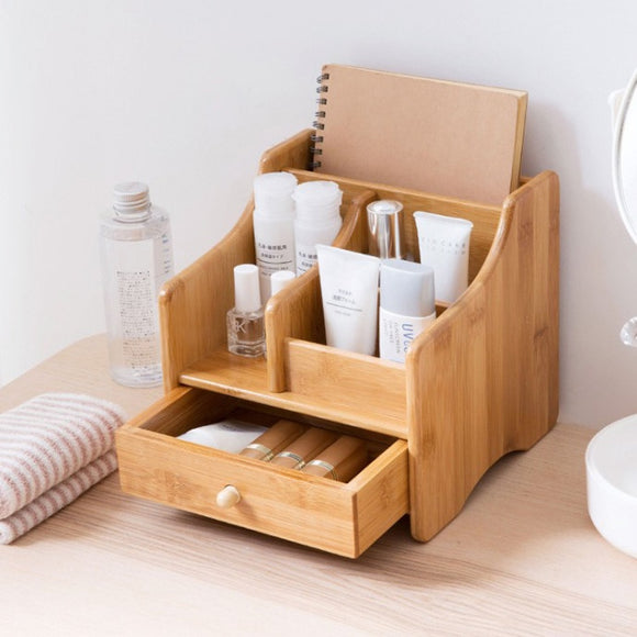 Home Storage & Organization makeup organizer home office Bathroom desk organiser with drawer Cosmetics storage box Bamboo 2018 - HeyHouse