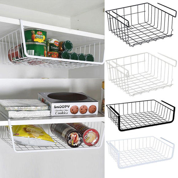 Home Storage Basket Kitchen Multifunctional Storage Rack Under Cabinet Storage Shelf Basket Wire Rack Organizer Storage - HeyHouse