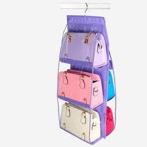 storage bag Non-Woven Wardrobe Storage Rack Organizer Handbag Hanger Shelf Purse Holder Bathroom Rear Door Storage Holder hooks - HeyHouse