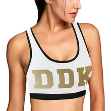 Load image into Gallery viewer, White and Gold Sports Bra