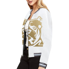 Load image into Gallery viewer, White and Gold Bomber Jacket