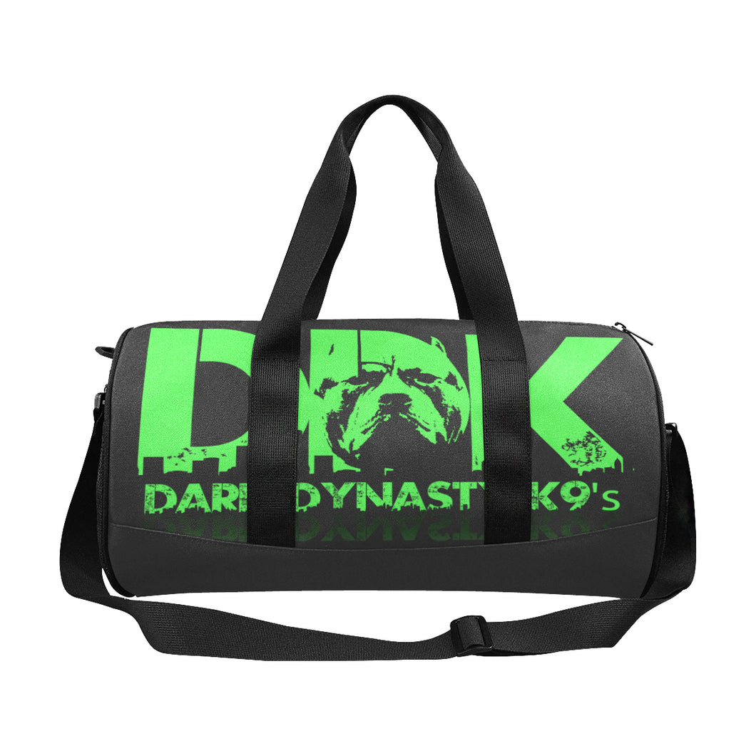 Green logo duffle bag