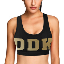 Load image into Gallery viewer, Black and Gold Sports Bra