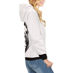 black and white High Neck Pullover Hoodie