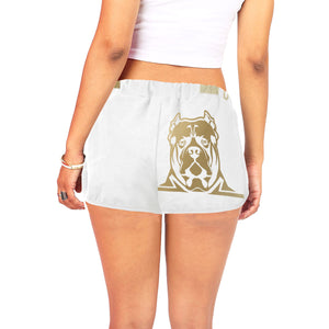 Women's White and Gold Shorts