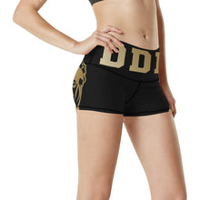 Load image into Gallery viewer, Black and Gold Yoga Shorts