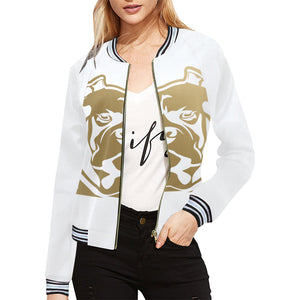 White and Gold Bomber Jacket