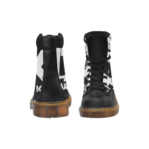 Men's Round Toe Black and White DDK Boots