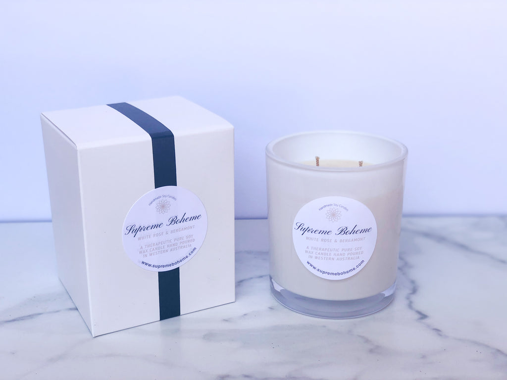 White Rose and Bergamont Scented Soy Candle