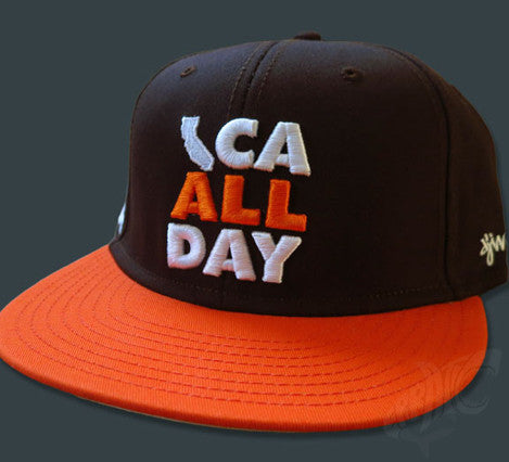CA ALL DAY Brown Snapback hat (Orange/White)