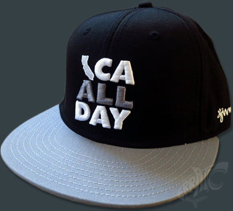 CA ALL DAY Black Snapback hat (Grey/White)