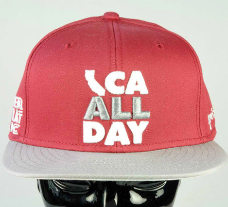 "CA ALL DAY ""Wine"" Snapback hat (Grey/White)"
