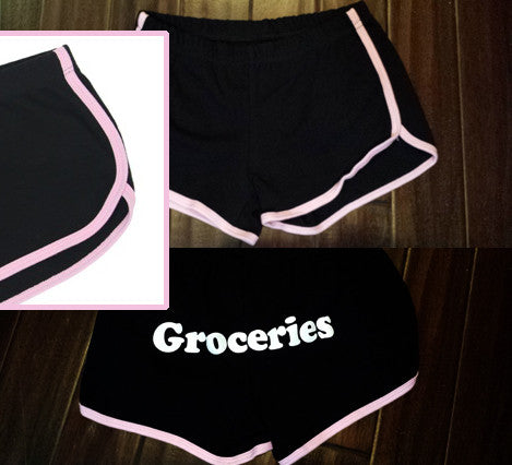 Groceries Shorts (Black/Pink)