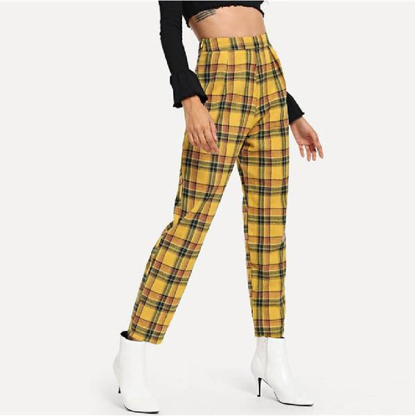 Yellow Plaid Loose Fit Pants 2019/2020