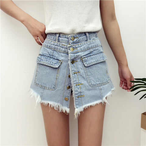 Denim High Waist Skirt Shorts Transformers