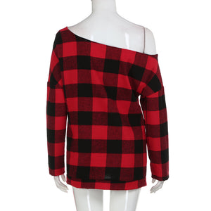 Women's Off-Shoulder Tartan Cotton Blouse