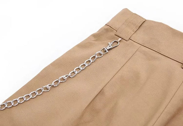 High Waist Wide Leg Women's Jeans Pants with Chain