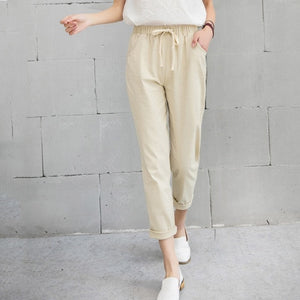 Loose Fit Elastic Waist Cotton Linen Pants/ Plus Size Available