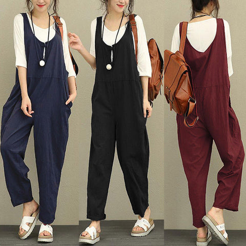 Women Sleeveless Dungarees Loose Cotton Long Playsuit Jumpsuit Pants Trousers