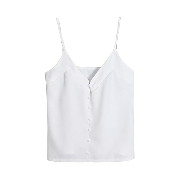 Basic Buttoned Chiffon Camisole Tank Top
