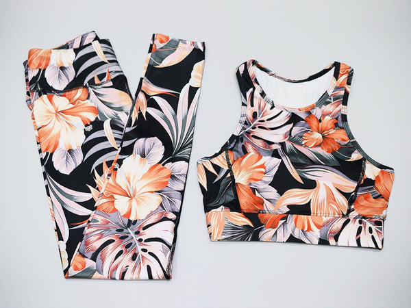 Women's Floral Sportswear Crop Top and Fitness Leggings Set 2019