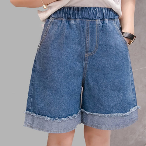 High Waist Wide Leg Jeans Shorts with Cuffs