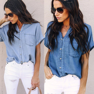 Women Casual Classic Denim Shirt 2019