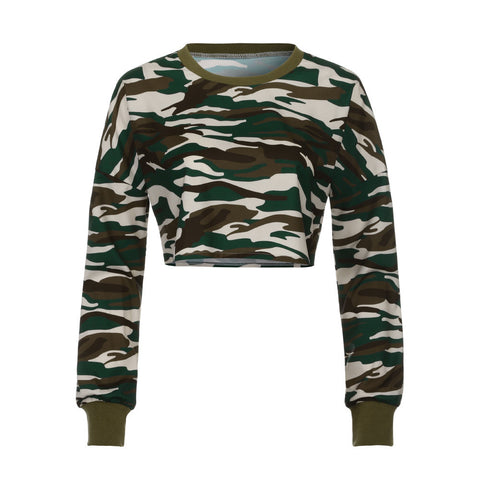 Women's Long Sleeve Camouflage Crop Top