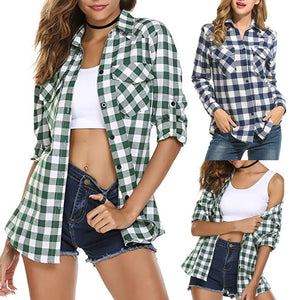 Womens Tartan Plaid Flannel Shirts Roll up Sleeve Casual Tops Button Down Blouse