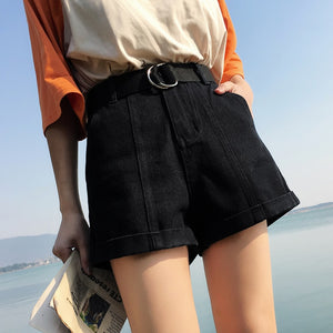 Women's High Waist Jeans Shorts Loose Fit