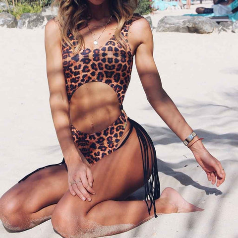 Leopard Monokini Swimsuit with Cutouts and Tassles 2019