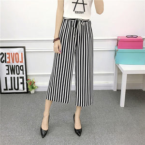 High Waist Wide Leg Striped Ankle-Length Pants