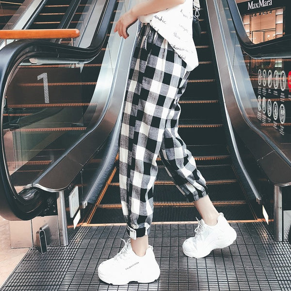 High Waist Plaid Loose Fit Ankle Length Pants with Drawstring