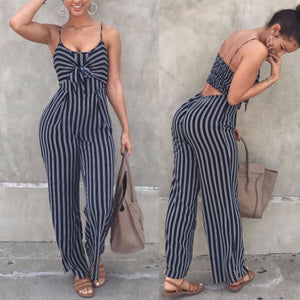 Striped Loose Fit Jumpsuit with a Bowknot and Cutout 2019