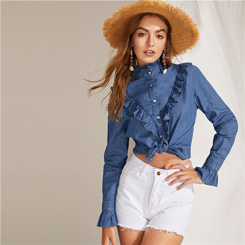 Denim Long Sleeve Shirt with Ruffles and Turtleneck
