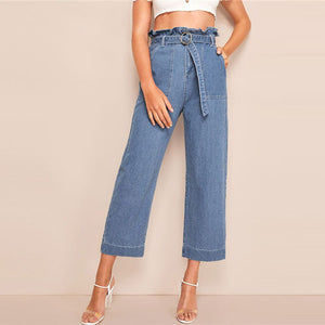 High Waist Wide Leg Cropped Jeans Loose Fit