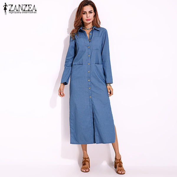 Long Denim Shirt Dress Casual/Feminine/Tomboy style with Tucked Long Sleeves