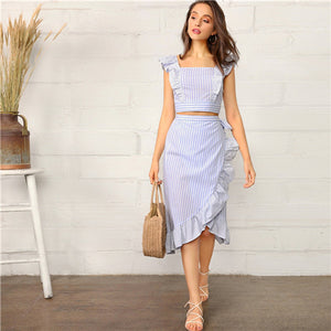 Ruffled top and Surplice Midi Skirt Summer Suit 2019