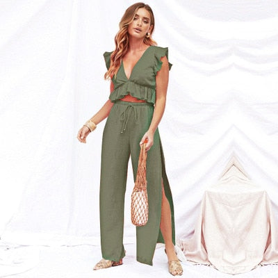 Ruffled Top and High Waist Wide Leg Pants with Slits Summer Set 2019