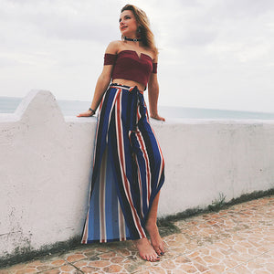 Wide Leg Loose Summer Beachwear Pants with Slits