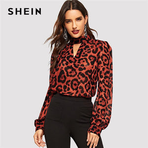 c019a092505 SHEIN Multicolor Keyhole Neck Bishop Sleeve Leopard Top Stand Collar Cut  Out Blouse Women Autumn Office Lady Tops and Blouses