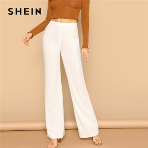 89b8830104 SHEIN White High Waist Straight Leg Pants Office Lady Elastic Waist Long  Trousers 2019 Women Spring Plain Workwear Pants