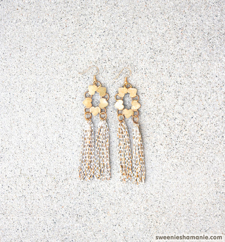 Dripping In Gold Earrings (White)