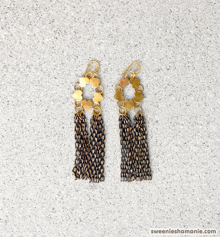 Dripping In Gold Earrings (Black)