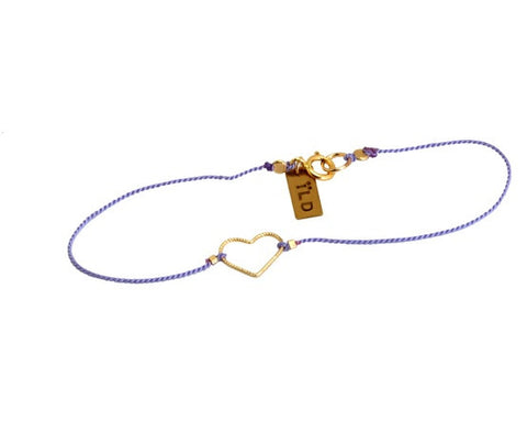 14k Heart on Single String Bracelet