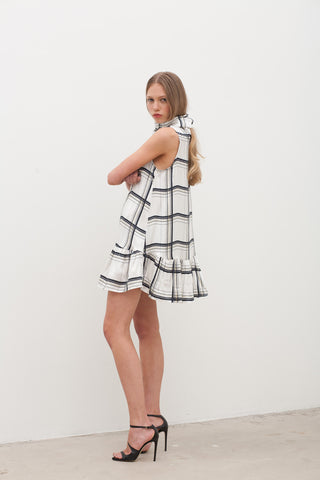 Silk Check Scarf Dress