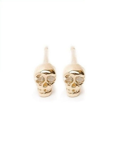 Tiny Skully Earrings with Diamond Eyes