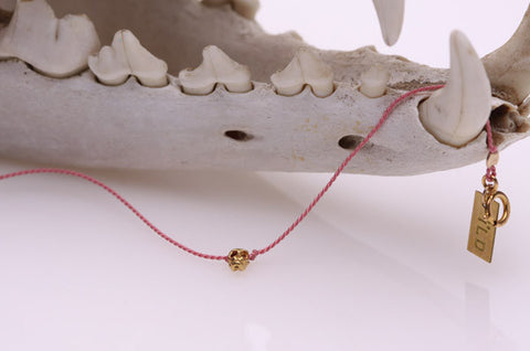 Tiny Skully Silk String Bracelet
