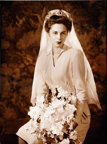 Shirley Clarke on her wedding day, 1943