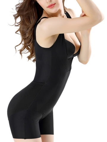 Sleeveless Open Butt Mid Thigh Bodysuit - NYX Shapewear